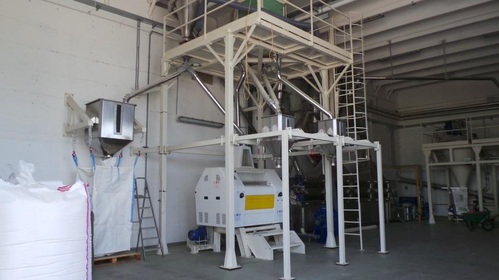 Impianto per la lavorazione di farine gluten free per l'alimentazione umana.
